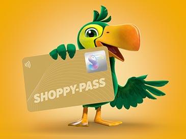 Mit Ihrem persönlichen goldenen Shoppy-Pass erhalten Sie Bonuspunkte und werden jeden Monat über exklusive Angebote, Events, Verteilaktionen und Gewinnchancen informiert.